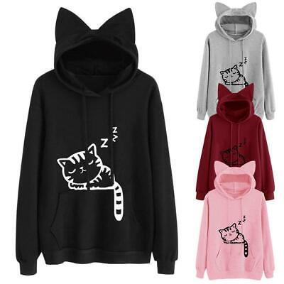 Women Hooded with Cat Ear Long Sleeve Print Loose Hoodie Sweatshirt With RLWH 05
