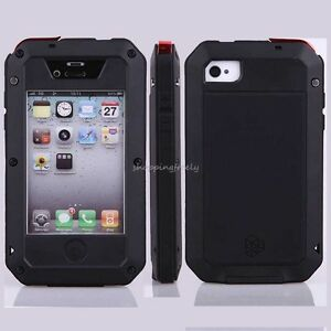 Aluminum-Metal-Case-Glass-for-Apple-iPhone-4-4S-4G-Water-Shock-Dust-Proof-Black
