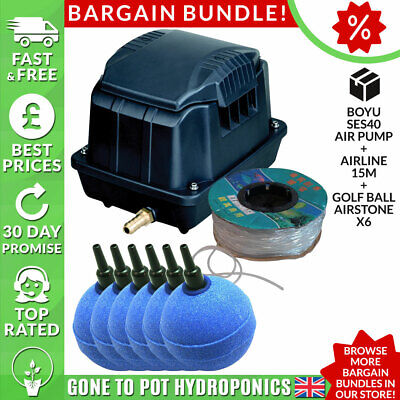 Boyu Air Pump Discount Bundle - SES40, Airline 15m, Golf Ball Airstone x6