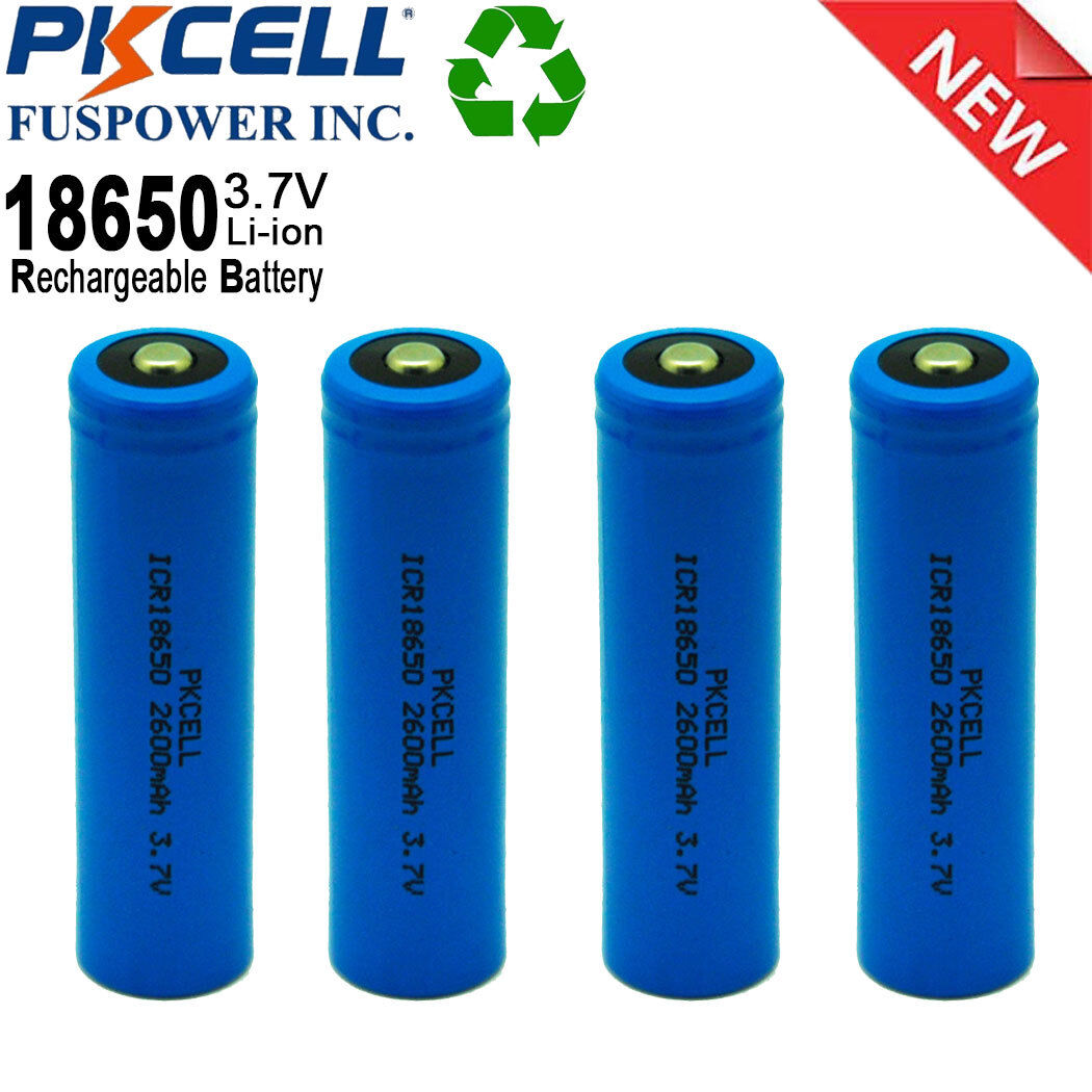 ICR18650 3.7V 2600mAh Lithium Ion Rechargeable Button Top Ba