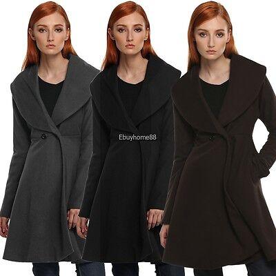 Elegant Women Wind Coat Long Sleeve Loose Solid Winter Cotton Long Jacket EHE8