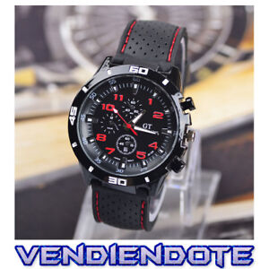 b020656ce326 Reloj De Pulsera Deportivo Negro rojo Para Hombre Caballero Gt Grand Touring