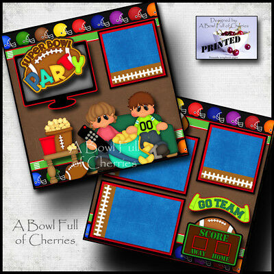 SUPER BOWL PARTY ~ 2 PREMADE SCRAPBOOK PAGES Paper NFL layout FOOTBALL ~ CHERRY (Super Bowl Crafts)