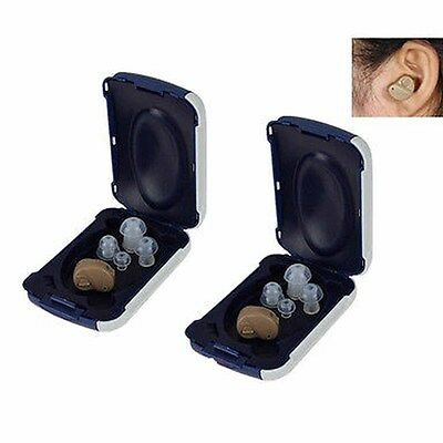 2X Small In Ear Invisible Best Sound Amplifier Adjustable Tone Hearing Aids Wis