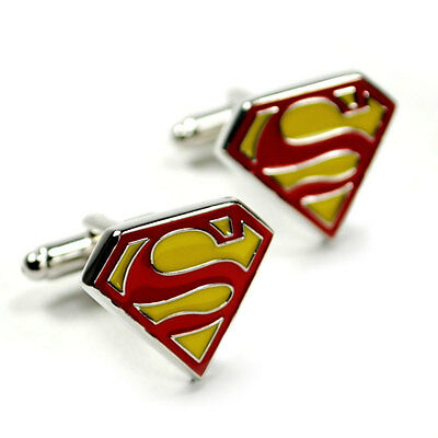 SUPERMAN CUFFLINKS Super Hero Color Logo GIFT BAG Pair Men