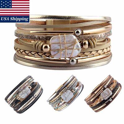 Womens Genuine Leather Bracelet Pearl Copper Tube Cuff Bangle Wristband Gift New](Tube Bracelet)