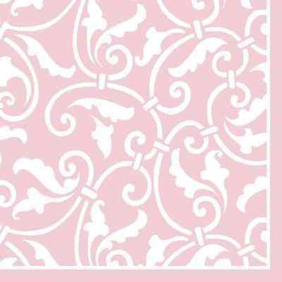 Ornamental Scroll New Pink Wedding Floral Garden Party Paper Beverage Napkins