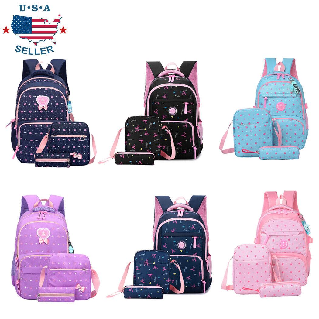 3Pcs Girl School Shoulder Backpack Teenage Bookbag Women Can