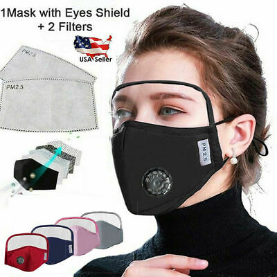 Reusable Cotton Face Mask W Eyes Shield Air Breathing Valve 2 Pm2.5 Filters