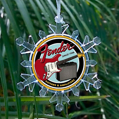 Retro Fender Electric Guitars Snowflake Blinking Holiday Christmas Tree Ornament