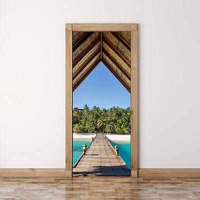 Door Mural Bridge to tropical beach - Self Adhesive Fabric Wall Sticker