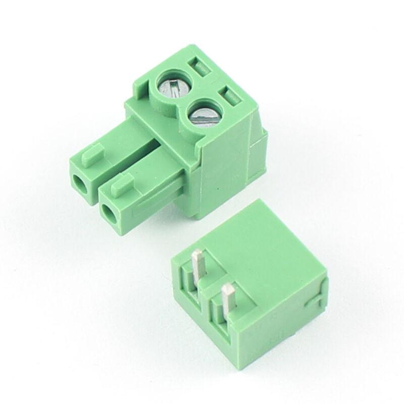 10Pcs 3.81mm Pitch 2 Pin Angle Screw Pluggable Terminal Block Plug Connector