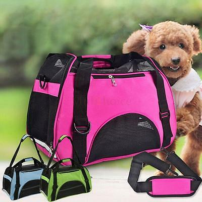 - Nylon & Mesh Pet Carrier Soft Sided Cat Dog Comfort Travel Tote Bag Travel