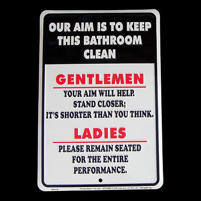 Cleaning Tin Sign (Our Aim is to Keep Bathroom Clean Tin Sign Funny Home Bar/Pub/Tavern Wall)