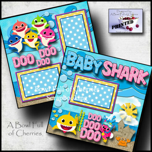 BABY SHARK pinkfong 2 premade scrapbook pages paper printed layout CHERRY #0114
