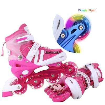Adjustable Kids Roller Blades Inline Skates Light Up Flash Size S M L Best