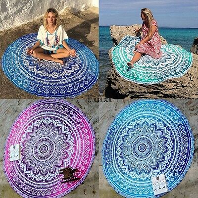 Round Mandala Indian Hippie Boho Tapestry Beach Picnic Throw Towel Mat Blanket T