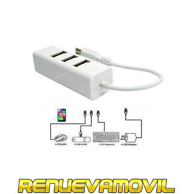Cable Micro USB 4 Puertos USB Hub OTG Cargador Para Android Ordenador...