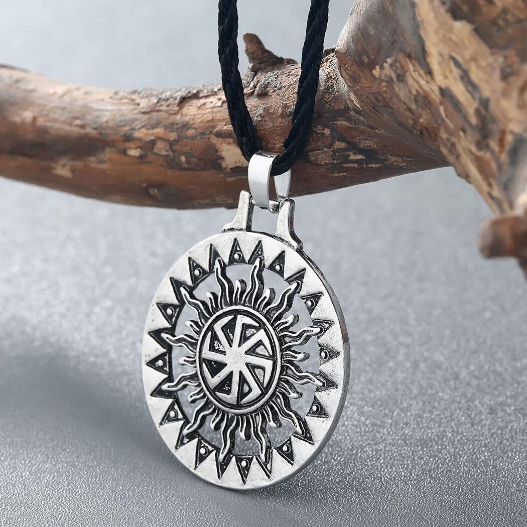 Men Viking Pendant Necklace Sun Symbol Slavic Wheel Nordic Amulet Pagan Jewelry