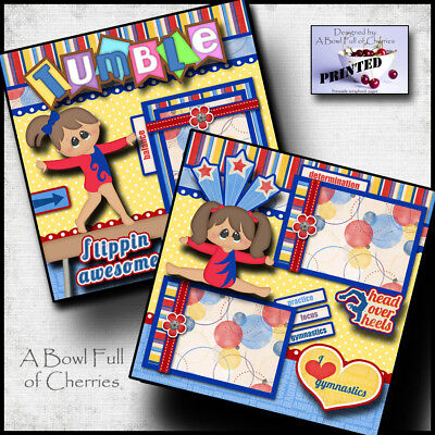 TUMBLING gymnastics girl 2 premade scrapbook pages paper printed 4 album CHERRY