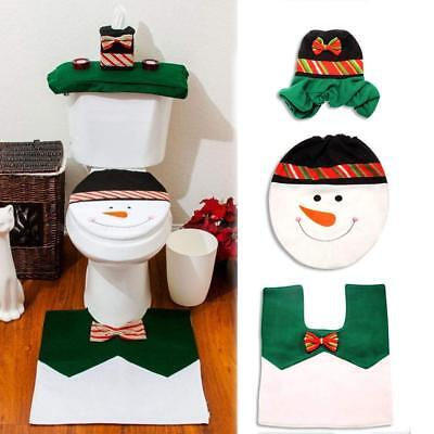 Green Color Snowman Toilet Seat Cover and Foot Mat Set for Christmas Decorations - Halloween Decorations For Bathroom