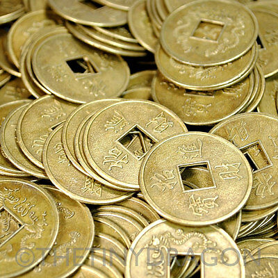 "20 LARGE FENG SHUI COINS 1.25"" 3.2cm Brass Chinese Fortune Coin Lucky I Ching"