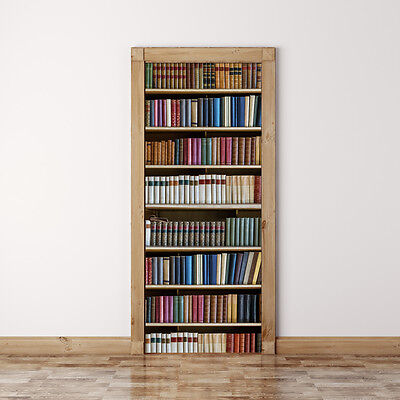 Door Mural Old vintage books on shelves - Self Adhesive Fabric Wall Sticker