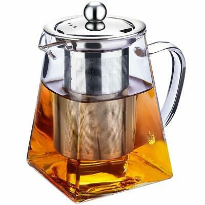 Clear Glass Teapot Infuser Filter Tea Strainer Pot Stainless Steel Square 750ml  Steel Clear Glass