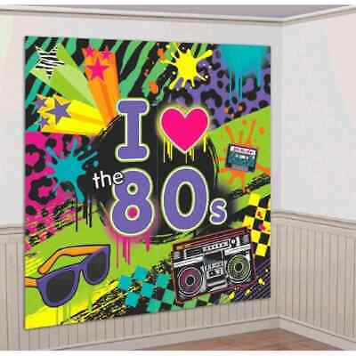 Totally 80's Scene Setter Retro Theme Party Decoration Wall Decorating Kit - 80 Theme Party Decorations