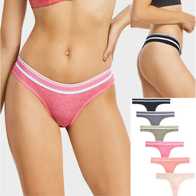 Lot of 6 Womens Thong Panties Cheeky Back Sexy Polyester Cotton Panty Pack Set Womens Sexy G-string