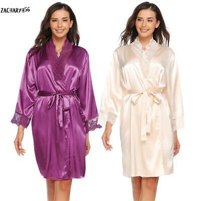Spitze V-ausschnitt Nachthemd (Frauen V-Ausschnitt Spitze Patchwork Kimono Robes Satin Nachthemd zac)