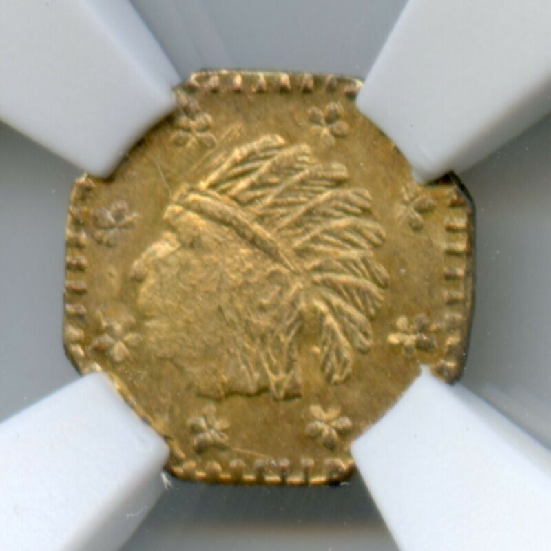 1857 California Gold Token / Wreath #5 8 Stars 9.5mm NGC MS63 POP 1 Finest Known