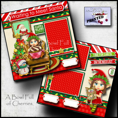 SANTA CHRISTMAS 2 premade scrapbook pages paper printed layout GIRL ELF CHERRY