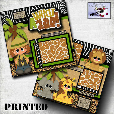 WHAT A ZOO ~ girl printed 2 premade scrapbook pages paper layout album BY -
