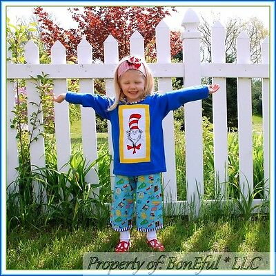 Dr Seuss Outfit (BonEful RTS NEW Boutique Girl 3 4 Dr Seuss Cat in the Hat Top Outfit School)