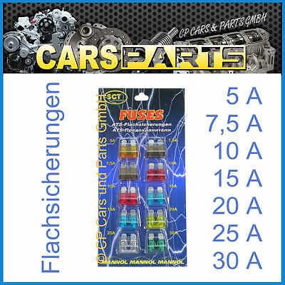 KFZ-Flachsicherungen - Sortiment = 10 Stück 5 bis 30 A  - Markenware