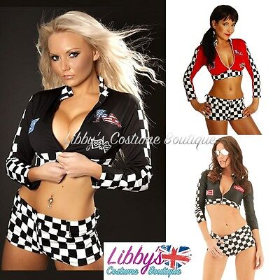 Race Girl Costume (Ladies Race Racer Grid Girl F1 Pit Crew Sexy Fancy Dress Costume Outfit UK)