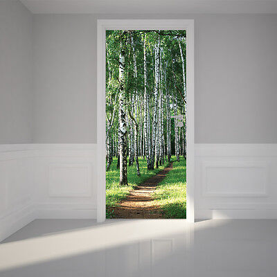 Door Wall Sticker Birch Tree Forest - Self Adhesive Removable Fabric Mural