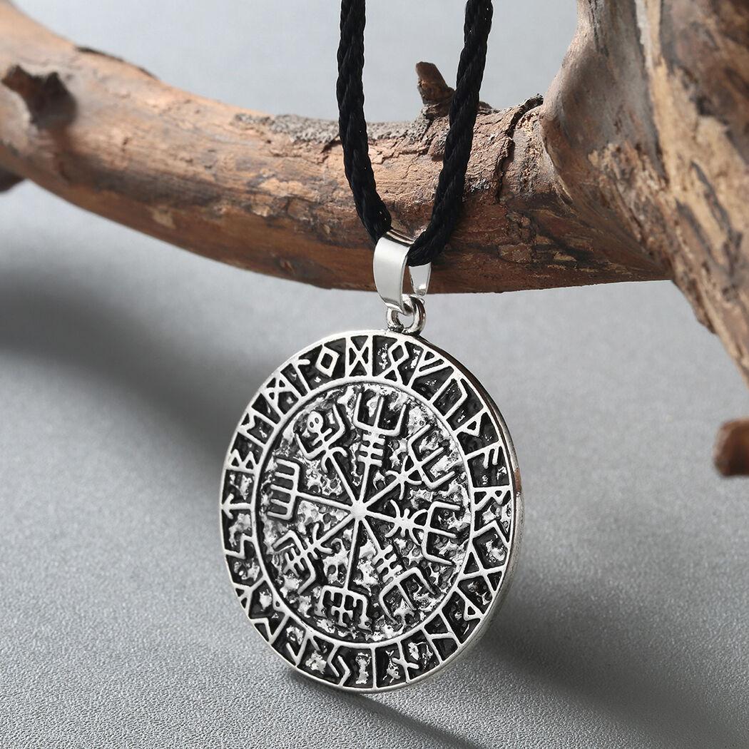Guidepost Compass Pendant Necklace Pagan Amulet Vegvisir Scandinavian Norse Gift