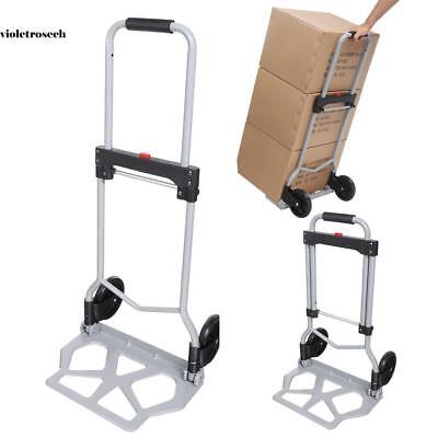 220lbs Folding Aluminium Cart Luggage Trolley Hand Truck Black Bungee Cord