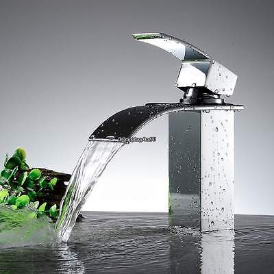 Waterfall Chrome Brass Bathroom Basin Faucet Single Handle Hole Sink Mixer Tap