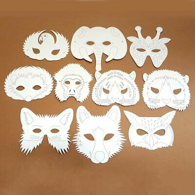 10 Card Jungle and Woodland Animal Face Masks to Colour in - Party Fancy - Jungle Animal Face Masks