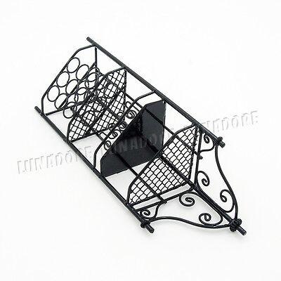 1:12 Dollhouse Corner Wine Rack Furniture Miniature Black Decor Gift Collection