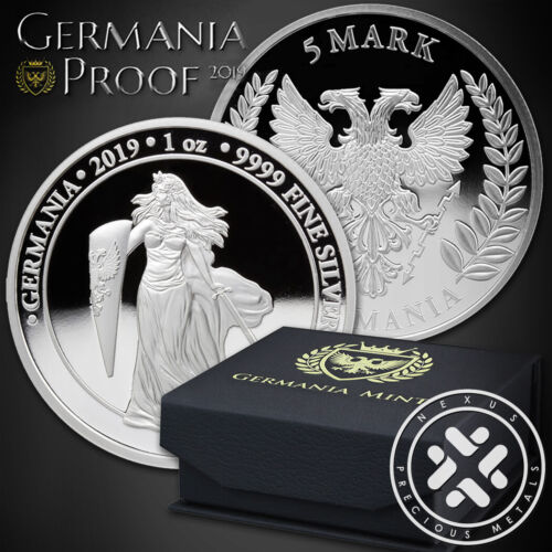 PROOF 2019 GERMANIA 5 MARK 1 OZ SILVER BRILLIANT UNCIRCULATED COIN