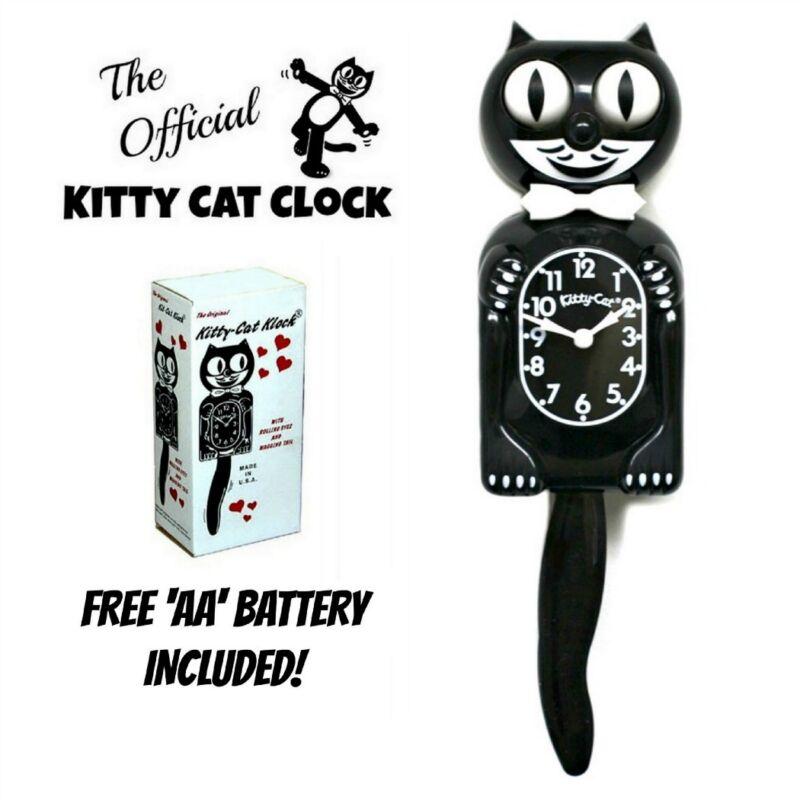 "BLACK KITTY CAT CLOCK (3/4 Size) 12.75"" Free Battery MADE IN USA Kit-Cat Klock"