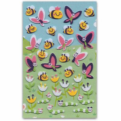 CUTE BEE & BUTTERFLY FELT STICKERS Sheet Raised Fuzzy Craft Scrapbook Sticker