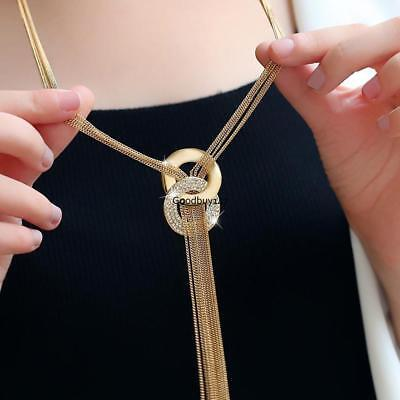 Women Fashion Alloy Long Chain Costume Jewelry Tassel Pendant Necklace 02 - Fashion Costume Jewelry Long Necklace