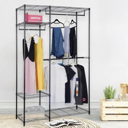 Heavy Duty Closet Wardrobe Clothes Garment Racks Storage Organizer Hanging Rod