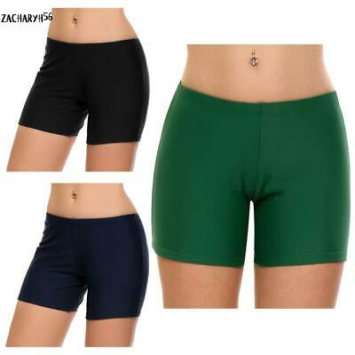 Frauen Mitte Taille Solide Swim Boyshorts Bikini Bottom Bademode zac