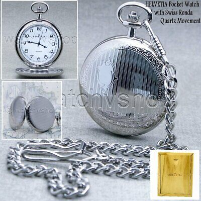 HELVETIA Swiss Movement Silver Men Quartz Pocket Watch Wood Box Antique P360A